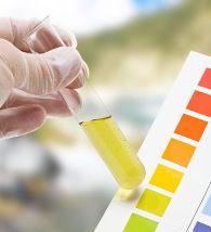 Técnico de laboratório verifica o pH de uma solução