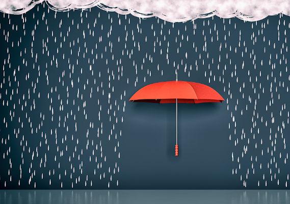 Desenho de chuva e guarda-chuva vermelho