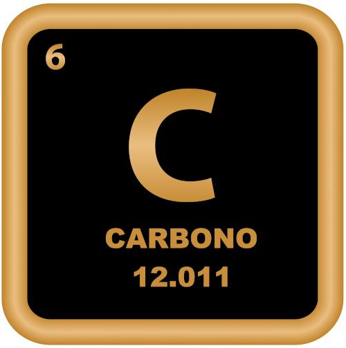 No canto superior esquerdo, o número atômico do carbono; abaixo do nome do elemento, a massa atômica.