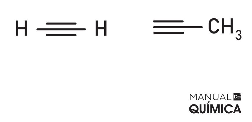 Fórmulas estruturais de duas moléculas da função alcino: acetileno, à esquerda, e metilacetileno, à direita.