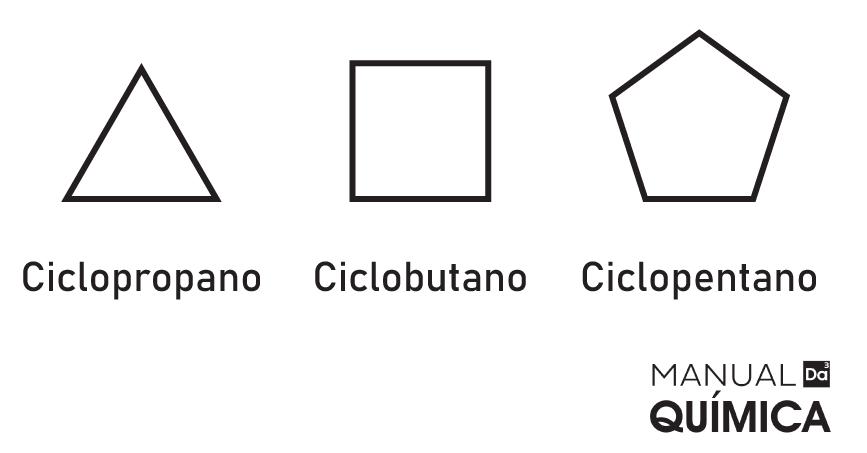Fórmulas estruturais de três moléculas diferentes da função ciclano.