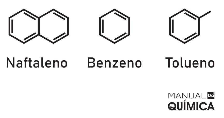 Fórmula estrutural de três hidrocarbonetos aromáticos diferentes.