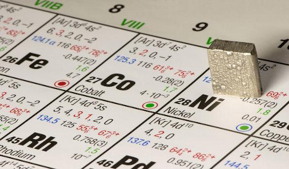 amostra de níquel em tabela periódica