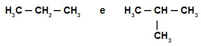 Fórmulas estruturais de alguns alcanos