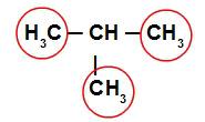 Fórmula estrutural de um alcano ramificado