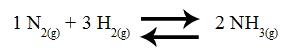 Equação representando a formação da amônia