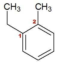 Fórmula estrutural do 1-etil-2-metil-benzeno