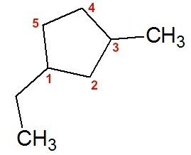 Fórmula estrutural do 1-etil-3-metil-ciclopentano