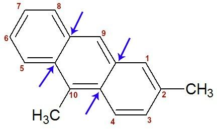 Fórmula estrutural do 2,10-dimetil-antraceno