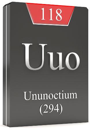 Sigla, número atômico e de massa do Ununoctium