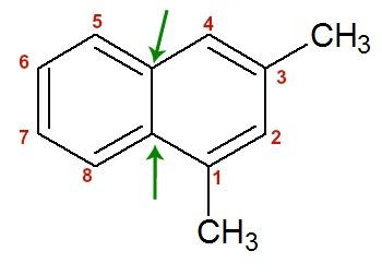Numeração de toda a estrutura do naftaleno