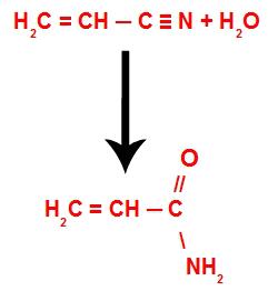 Equação da reação de hidratação da acrilonitrila