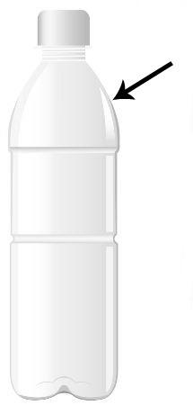 A seta indica o local em que devemos cortar a garrafa PET