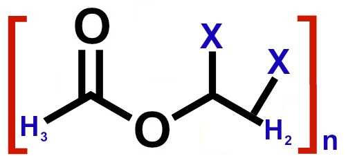 Fórmula estrutural do poliacetato de vinila