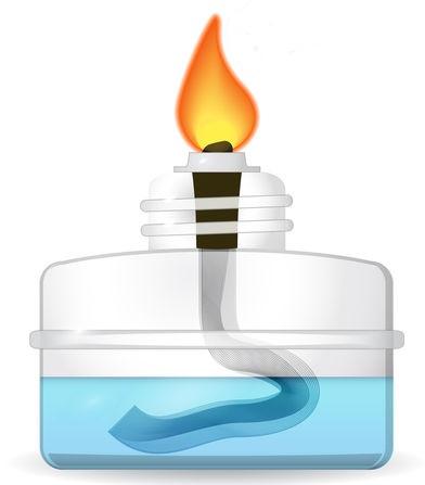 Lamparina utilizada para aquecimento no experimento