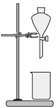 Sistema de separação com o funil de bromo