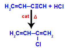 Equação representando a formação do 2-cloro-but-1,3-dieno