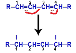 Movimentação dos elétrons pi em um alcadieno conjugado