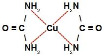Representação da estrutura do complexo de cobre e uréia