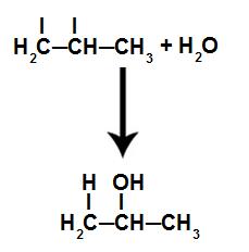 Equação que representa a formação do produto, que é um álcool
