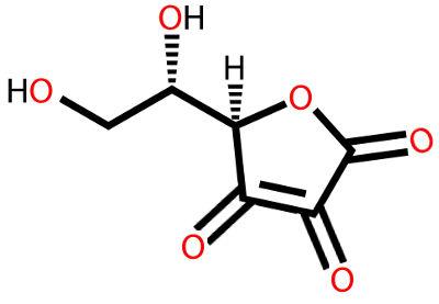 Fórmula estrutural do ácido ascórbico com cetona