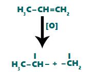 Ataque dos oxigênios nascentes ao alceno, rompendo a ligação dupla
