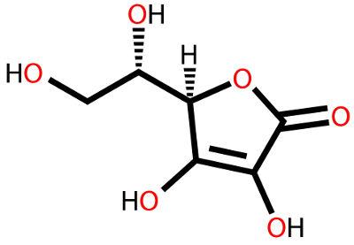 Fórmula estrutural do ácido ascórbico