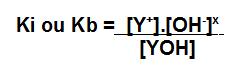 Expressão da constante de ionização para uma base