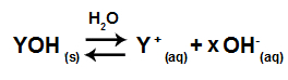 Exemplo de uma equação em equilíbrio de dissociação de uma base