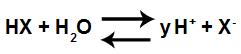 Exemplo de uma equação em equilíbrio de ionização de um ácido