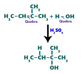Formação de um álcool por hidrogenação de um alceno