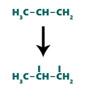 Sítio de ligação formado nos átomos de carbono após o rompimento da ligação pi