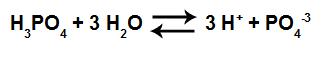 Equação em equilíbrio de ionização do ácido fosfórico