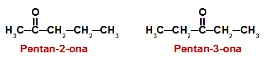 Fórmulas estruturais das cetonas analisadas