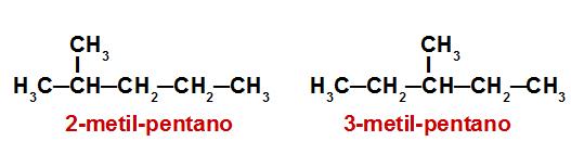 Fórmulas estruturais dos alcanos analisados