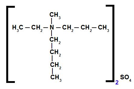 Exemplo da estrutura de um sal de amônio quaternário