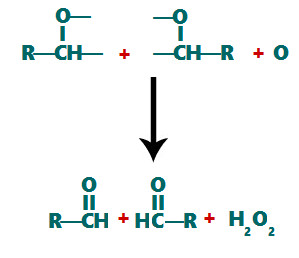 Formação da carbonila após a decomposição do ozoneto