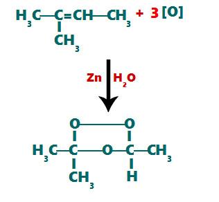 Etapas da formação do ozoneto a partir do 2-metil-but-2-eno