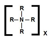 Fórmula estrutural geral de um sal de amônio quaternário