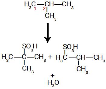 Possíveis ácidos sulfônicos formados na sulfonação do metil-propano
