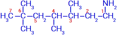Fórmula estrutural de uma amina primária ramificada