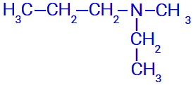 Fórmula estrutural de uma amina com três radicais