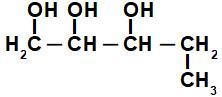 Fórmula estrutural de álcool cuja cadeia apresenta várias hidroxilas
