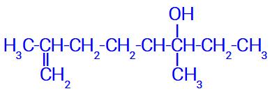 Fórmula estrutural de uma cadeia ramificada