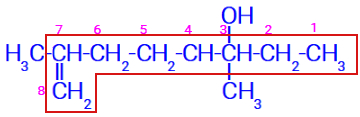 Estrutura ramificada com a numeração da direita para a esquerda