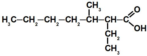 Exemplo de cadeia ramificada de um ácido carboxílico