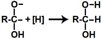 Representação do produto da redução orgânica de um ácido carboxílico