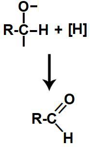 Equação da formação do aldeído na redução do ácido carboxílico
