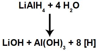 Equação química de formação de hidrogênios nascentes a partir do hidreto de lítio e alumínio em meio aquoso