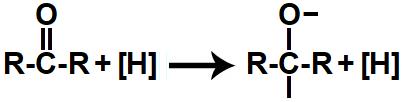 Representação das valências livres formadas durante a redução da cetona